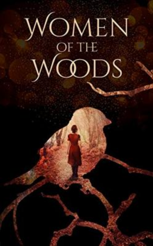 Cover of Women of the Woods, a woman stands inside the image of a bird.